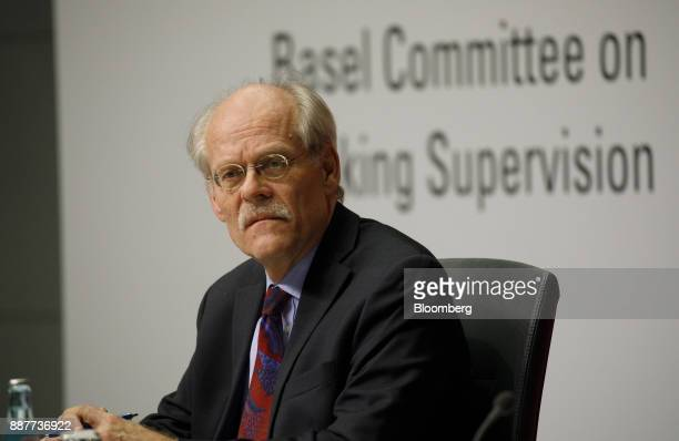 Stefan Ingves governor of the Sveriges Riksbank and chairman of the Basel Committee pauses during a Basel III capital rules news conference at the...
