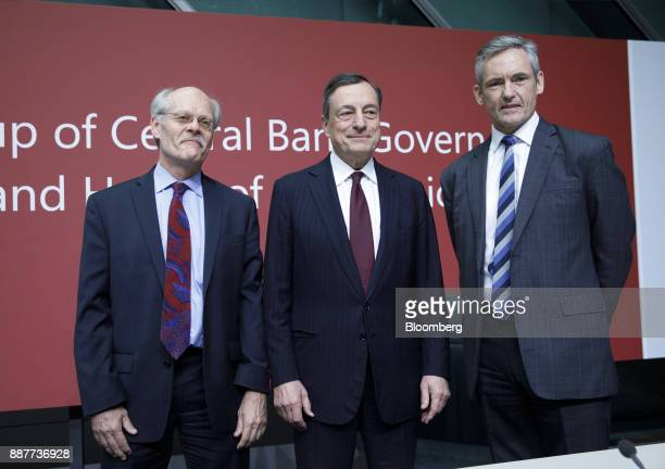 Stefan Ingves governor of the Sveriges Riksbank and chairman of the Basel Committee left Mario Draghi president of the European Central Bank center...