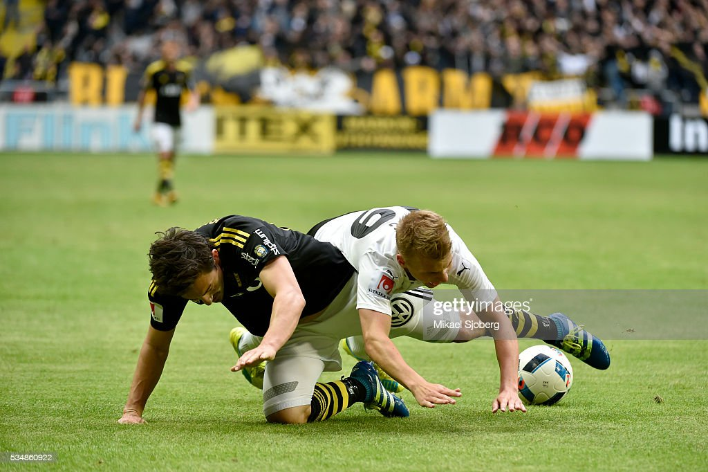 Stefan Ishizaki of AIK and Sebastian Ring of Orebro SK during the game at Friends arena on May 28, 2016 in Solna, Sweden.