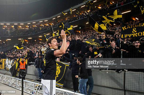 Stefan Ishizaki of AIK celebrates after the victory during the Allsvenskan match between AIK and Djurgardens IF at Friends arena on May 16 2016 in...
