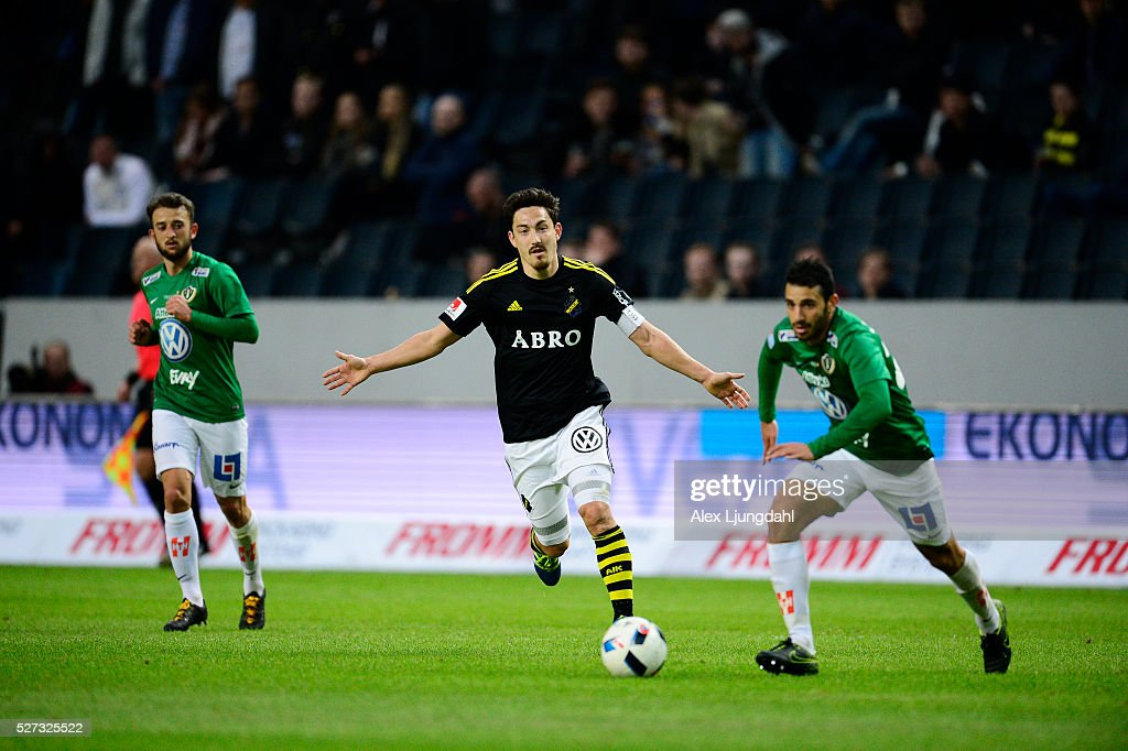 Stefan Ishizaki of AIK during the allsvenskan match between AIK and Jonkkoping Sodra IF at Friends arena on May 2, 2016 in Solna, Sweden.