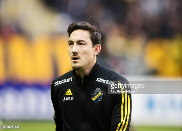 Stefan Ishizaki of AIK during the Allsvenskan match between AIK and Jonkopings Sodra IF at Friends Arena on October 15 2017 in Solna Sweden