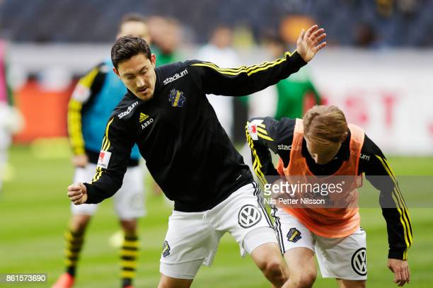 Stefan Ishizaki of AIK during warmup ahead of the Allsvenskan match between AIK and Jonkopings Sodra IF at Friends Arena on October 15 2017 in Solna...