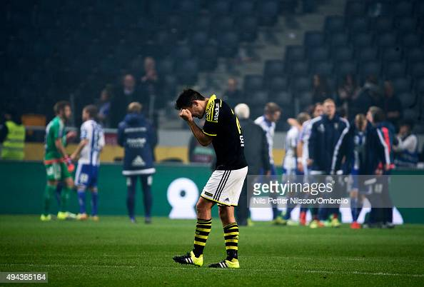 Stefan Ishizaki of AIK reacts after the Allsvenskan match between AIK and IFK Goteborg at the Friends arena on October 26 2015 in Solna Sweden