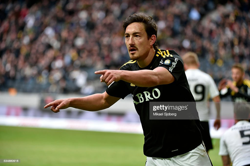 Stefan Ishizaki of AIK reacts during the game at Friends arena on May 28, 2016 in Solna, Sweden.