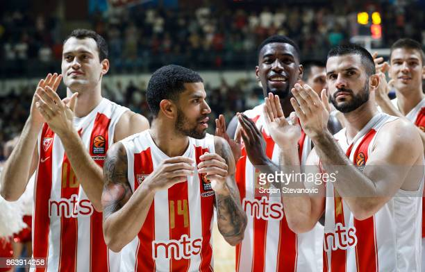 Stefan Jankovic James Feldeine Mathias Lessort and Branko Lazic of Crvena Zvezda celebrate after winning the 2017/2018 Turkish Airlines EuroLeague...