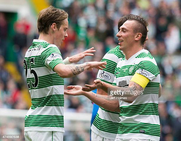 Stefan Johansen celebrartes his goal for Celtic with Scott Brown at the Scottish Premiership match between Celtic and Inverness Caley Thistle at...