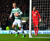 Stefan Johansen of Celtic celebrates scoring a goal late in the first half during the UEFA Europa League group D match between Celtic FC and FC...