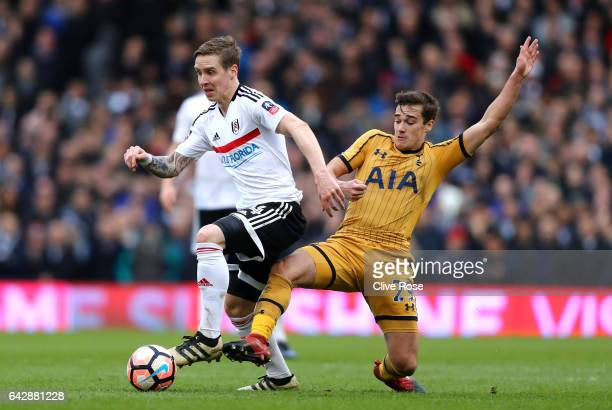Stefan Johansen of Fulham evades Harry Winks of Tottenham Hotspur during The Emirates FA Cup Fifth Round match between Fulham and Tottenham Hotspur...