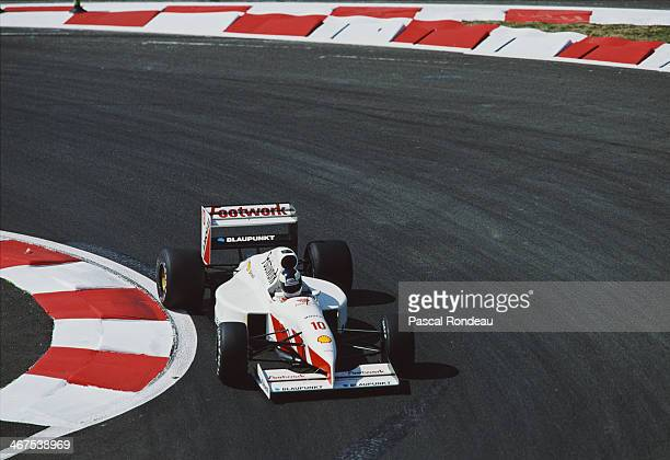 Stefan Johansson of Sweden drives the Footwork Grand Prix International Footwork FA12C Ford Cosworth DFR V8 during qualifying for the French Grand...