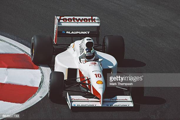 Stefan Johansson of Sweden drives the Footwork Grand Prix International Footwork FA12C Ford Cosworth DFR V8 during practice for the French Grand Prix...