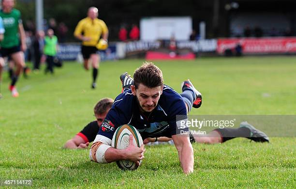 Stefan Jones of Bedford Blues dives over for a try during the British Irish Cup match between Cornish Pirates and Bedford Blues at Mennaye Field on...