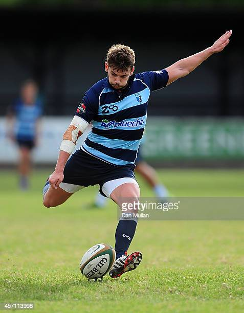 Stefan Jones of Bedford Blues takes a kick at goal during the British Irish Cup match between Cornish Pirates and Bedford Blues at Mennaye Field on...