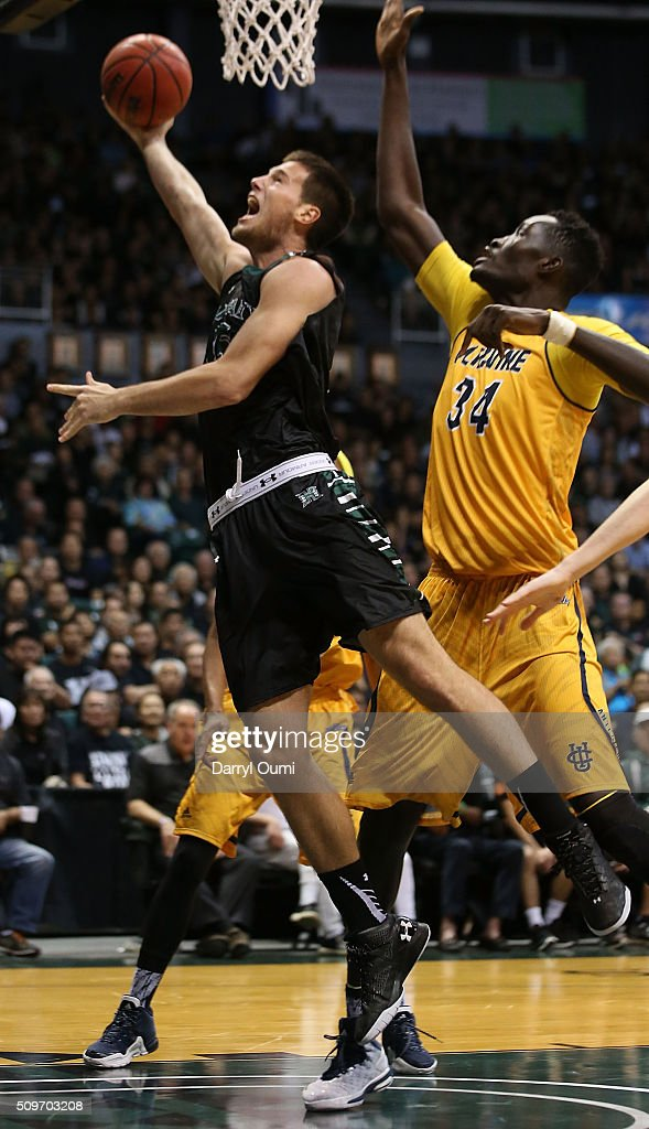 Stefan Jovanovic #15 of the Hawai'I Rainbow Warriors puts up a shot ahead of Mamadou Ndiaye #34 of the UC Irvine Anteaters at Stan Sheriff Center on February 12, 2016 in Honolulu, Hawaii.