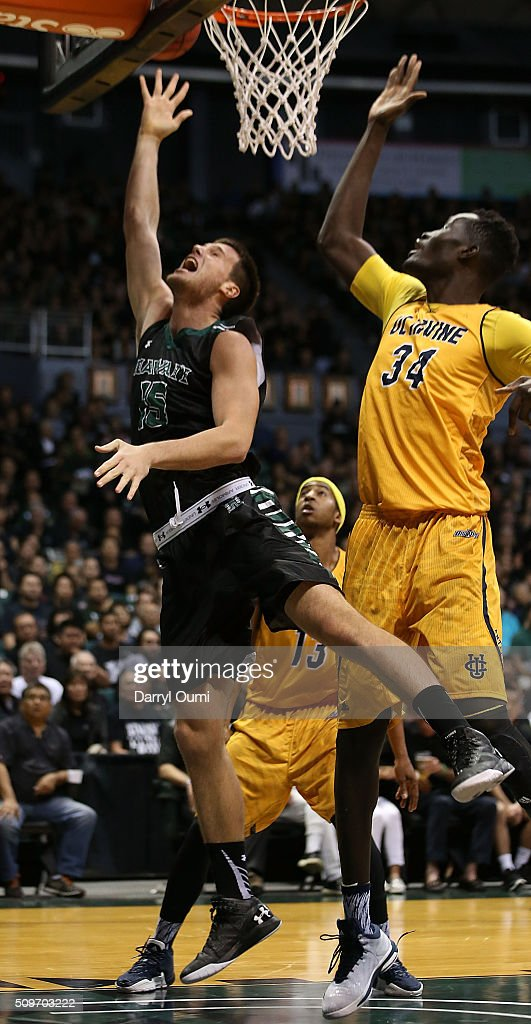 Stefan Jovanovic #15 of the Hawai'I Rainbow Warriors puts up a shot against the UC Irvine Anteaters at Stan Sheriff Center on February 12, 2016 in Honolulu, Hawaii.