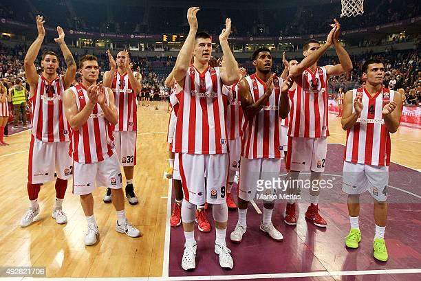 Stefan Jovic #24 Gal Mekel #7 Luka Mitrovic #9 Ryan Thompson #5 Nikola Rebic #4 of Crvena Zvezda Telekom Belgrade during the Turkish Airlines...