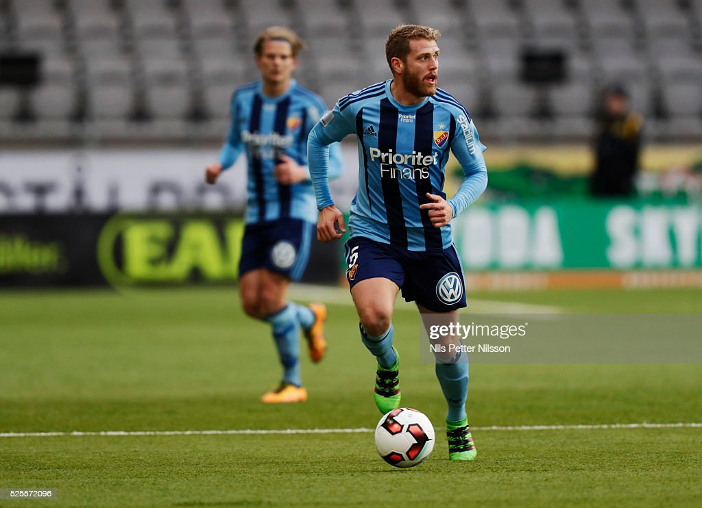 Stefan Karlsson of Djurgardens IF during the Allsvenskan match between IF Elfsborg and Djurgardens IF at Boras Arena on April 28, 2016 in Boras, Sweden.