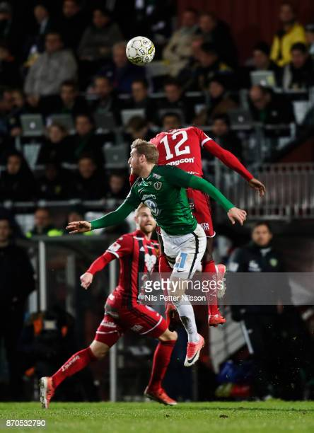 Stefan Karlsson of Jonkopings Sodra and Ken Sema of Ostersunds FK competes for the ball during the Allsvenskan match between Jonkopings Sodra IF and...