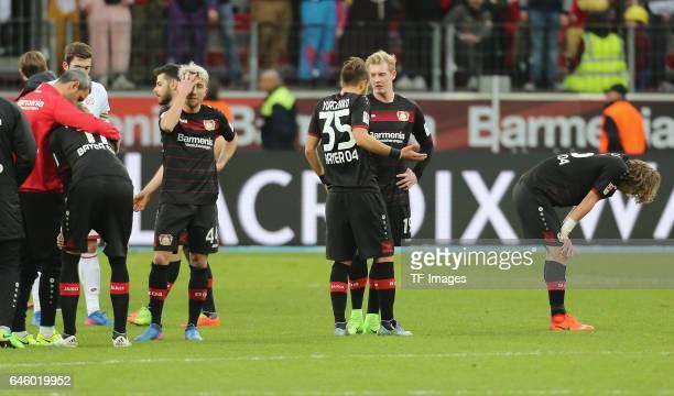 Stefan Kiessling Kevin Kampl adlen Yurchenko Julian Brandt und Tin Jedvaj of Leverkusen nach dem Spiel looks dejected during the Bundesliga match...