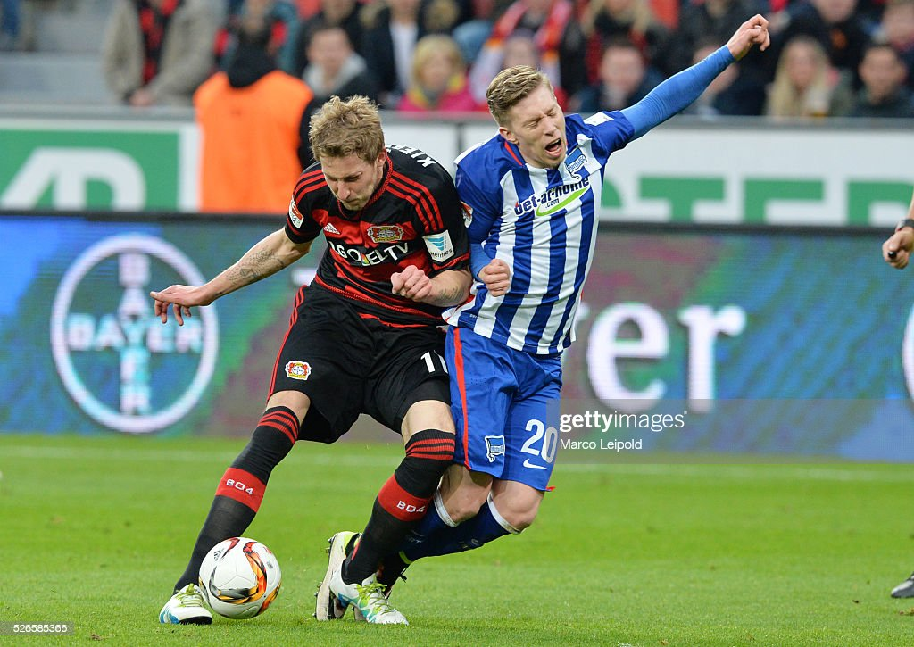 <a gi-track='captionPersonalityLinkClicked' href=/galleries/search?phrase=Stefan+Kiessling&family=editorial&specificpeople=605405 ng-click='$event.stopPropagation()'>Stefan Kiessling</a> of Bayer 04 Leverkusen and <a gi-track='captionPersonalityLinkClicked' href=/galleries/search?phrase=Mitchell+Weiser&family=editorial&specificpeople=6732587 ng-click='$event.stopPropagation()'>Mitchell Weiser</a> of Hertha BSC during the game between Bayer 04 Leverkusen and Hertha BSC on april 30, 2016 in Leverkusen, Germany.