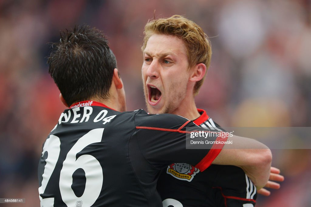 Stefan Kiessling of Bayer Leverkusen celebrates after scoring his team's first goal during the Bundesliga match between Bayer Leverkusen and Hertha...