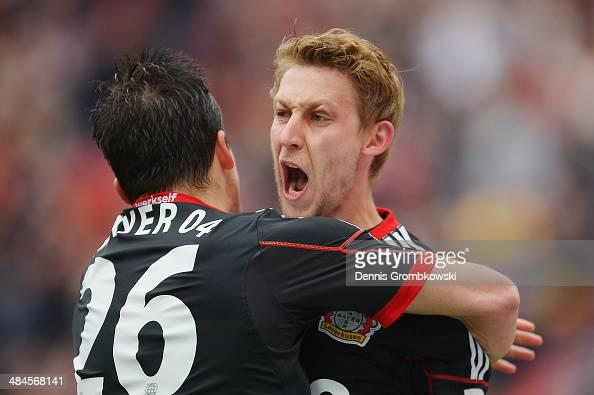 Stefan Kiessling of Bayer Leverkusen celebrates after scoring his team's first goal during the Bundesliga match between Bayer Leverkusen and Hertha...