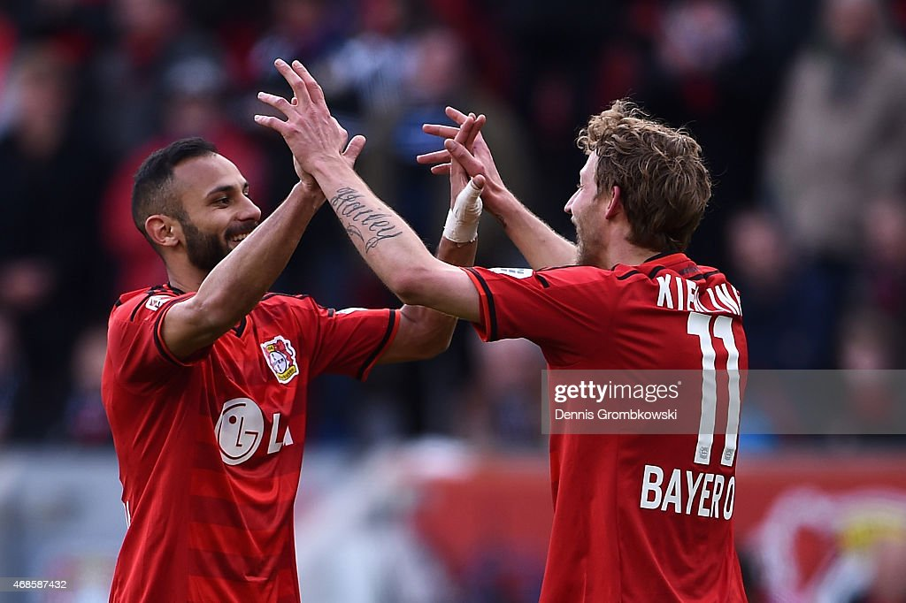 Stefan Kiessling of Bayer Leverkusen celebrates as he scores the third goal during the Bundesliga match between Bayer 04 Leverkusen and Hamburger SV...