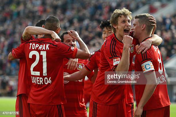 Stefan Kiessling of Bayer Leverkusen celebrates as he scores the fourth goal during the Bundesliga match between Bayer 04 Leverkusen and Hannover 96...