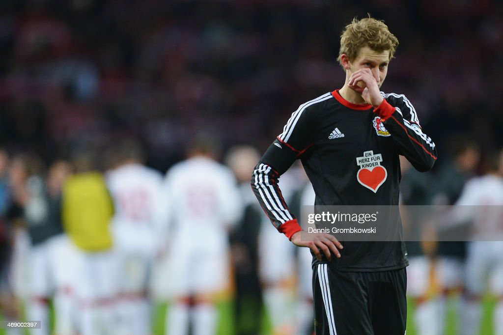 Stefan Kiessling of Bayer Leverkusen looks dejected after the DFB Cup quarterfinal match between Bayer Leverkusen and 1 FC Kaiserslautern at BayArena...