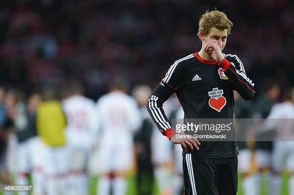 Stefan Kiessling of Bayer Leverkusen looks dejected after the DFB Cup quarterfinal match between Bayer Leverkusen and 1 FC Kaiserslautern at BayArena...