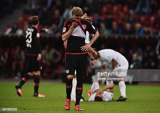 Stefan Kiessling of Bayer Leverkusen reacts during the Bundesliga match between Bayer Leverkusen and FC Augsburg at BayArena on October 4 2015 in...
