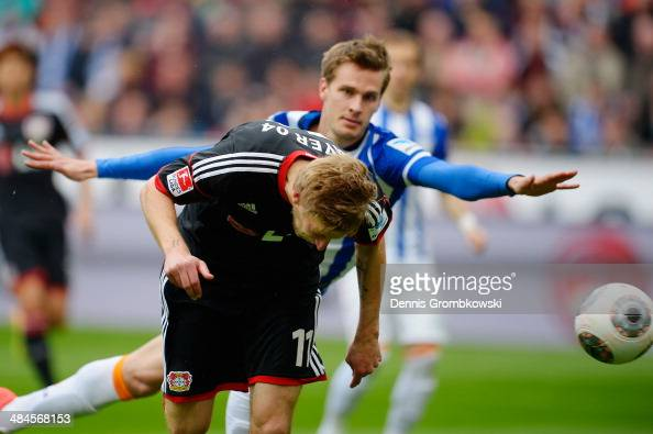 Stefan Kiessling of Bayer Leverkusen scores his team's first goal during the Bundesliga match between Bayer Leverkusen and Hertha BSC at BayArena on...
