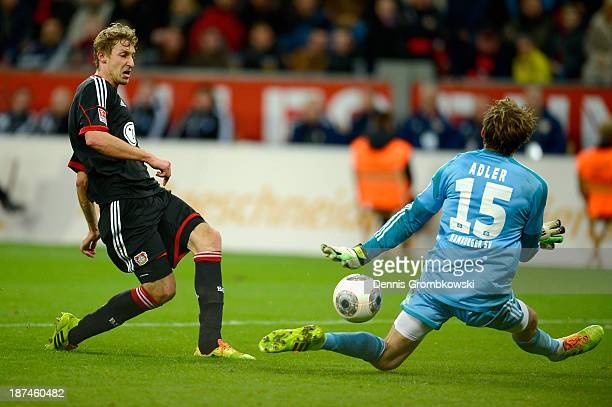 Stefan Kiessling of Bayer Leverkusen scores his team's fourth goal during the Bundesliga match between Bayer Leverkusen and Hamburger SV at BayArena...