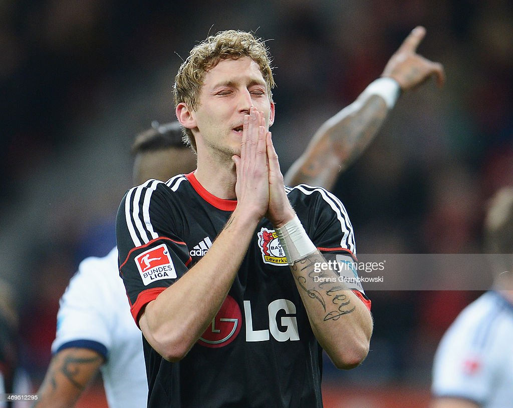 Stefan Kiessling of Bayer Leverkusen shows his frustration during the Bundesliga match between Bayer Leverkusen and FC Schalke 04 at BayArena on February 15, 2014 in Leverkusen, Germany.