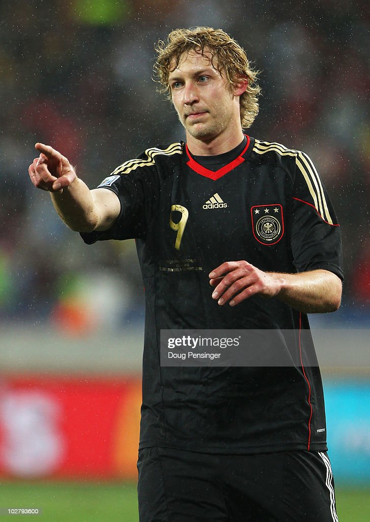 Stefan Kiessling of Germany gestures during the 2010 FIFA World Cup South Africa Third Place Playoff match between Uruguay and Germany at The Nelson...
