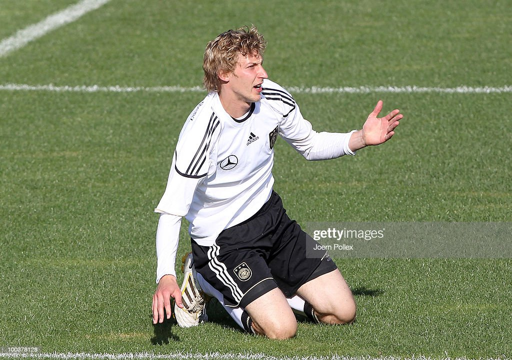 Stefan Kiessling of Germany gestures during the friendly match of FC South Tyrol and Germany at Sportzone Rungg on May 24, 2010 in Appiano sulla Strada del Vino, Italy.