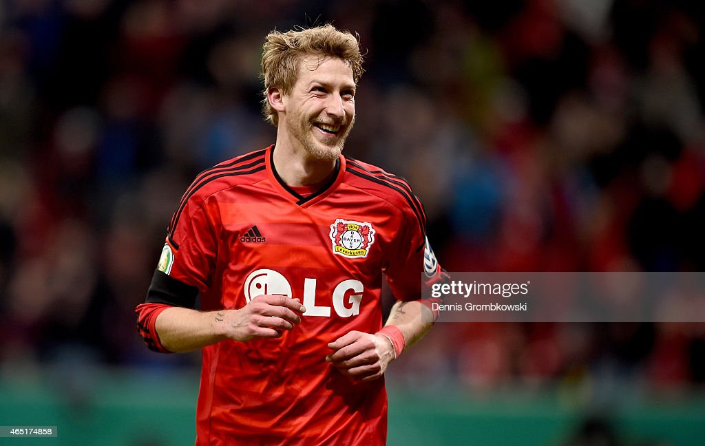 Stefan Kiessling of Leverkusen celebrates after he scores his team's opening goal during extra time during the round of 16 DFB Cup match between...