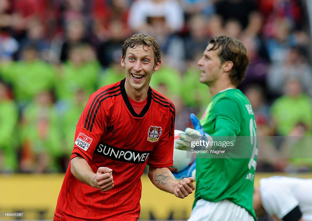 Stefan Kiessling of Leverkusen celebrates after scoring his teams first goal during the Bundesliga match between Bayer 04 Leverkusen and FSV Mainz 05 at BayArena on October 20, 2012 in Leverkusen, Germany.