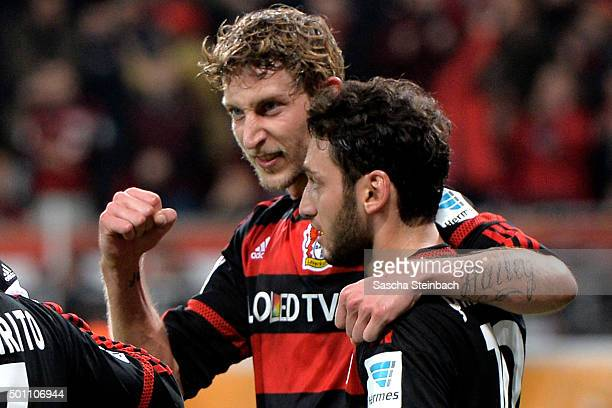 Stefan Kiessling of Leverkusen celebrates after scoring his team's third goal during the Bundesliga match between Bayer Leverkusen and Borussia...