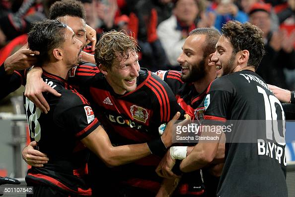 Stefan Kiessling of Leverkusen celebrates after scoring his team's third goal during the Bundesliga match between Bayer Leverkusen and Borussia...