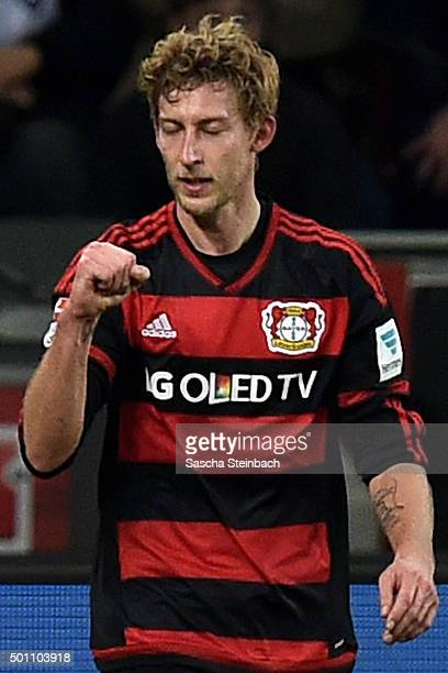 Stefan Kiessling of Leverkusen celebrates after scoring the opening goal during the Bundesliga match between Bayer Leverkusen and Borussia...