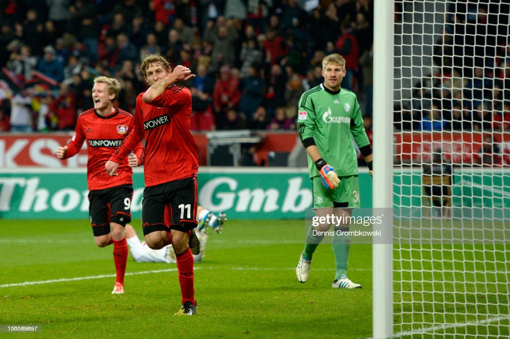<a gi-track='captionPersonalityLinkClicked' href=/galleries/search?phrase=Stefan+Kiessling&family=editorial&specificpeople=605405 ng-click='$event.stopPropagation()'>Stefan Kiessling</a> of Leverkusen celebrates his team's second goal during the Bundesliga match between Bayer 04 Leverkusen and FC Schalke 04 at BayArena on November 17, 2012 in Leverkusen, Germany.