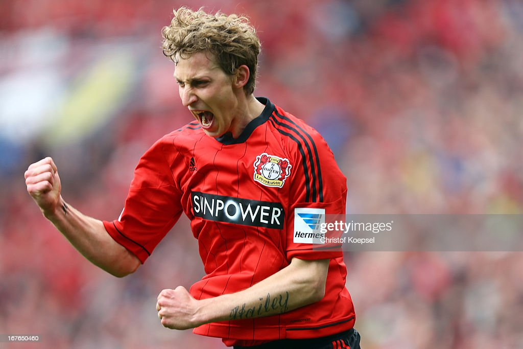 <a gi-track='captionPersonalityLinkClicked' href=/galleries/search?phrase=Stefan+Kiessling&family=editorial&specificpeople=605405 ng-click='$event.stopPropagation()'>Stefan Kiessling</a> of Leverkusen celebrates the first goal during the Bundesliga match between Bayer 04 Leverkusen and SV Werder Bremen at BayArena on April 27, 2013 in Leverkusen, Germany.