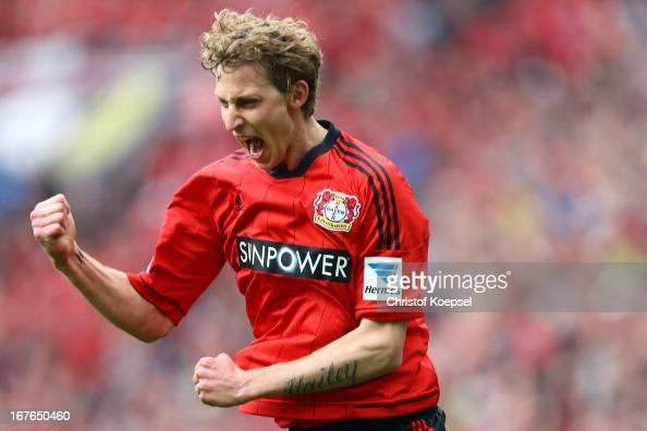 Stefan Kiessling of Leverkusen celebrates the first goal during the Bundesliga match between Bayer 04 Leverkusen and SV Werder Bremen at BayArena on...