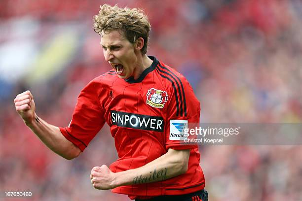 Stefan Kiessling of Leverkusen celebrates the first goal during the Bundesliga match between Bayer 04 Leverkusen and SV Werder Bremen at BayArena on...