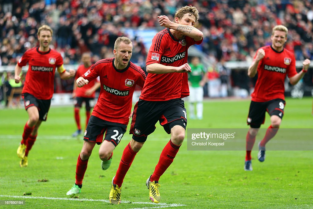 <a gi-track='captionPersonalityLinkClicked' href=/galleries/search?phrase=Stefan+Kiessling&family=editorial&specificpeople=605405 ng-click='$event.stopPropagation()'>Stefan Kiessling</a> of Leverkusen (2nd R) celebrates the first goal with <a gi-track='captionPersonalityLinkClicked' href=/galleries/search?phrase=Simon+Rolfes&family=editorial&specificpeople=635100 ng-click='$event.stopPropagation()'>Simon Rolfes</a> (L), <a gi-track='captionPersonalityLinkClicked' href=/galleries/search?phrase=Michal+Kadlec&family=editorial&specificpeople=2156641 ng-click='$event.stopPropagation()'>Michal Kadlec</a> (2nd L) and <a gi-track='captionPersonalityLinkClicked' href=/galleries/search?phrase=Andre+Schuerrle&family=editorial&specificpeople=5513825 ng-click='$event.stopPropagation()'>Andre Schuerrle</a> (R) during the Bundesliga match between Bayer 04 Leverkusen and SV Werder Bremen at BayArena on April 27, 2013 in Leverkusen, Germany.