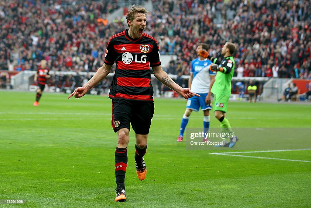 <a gi-track='captionPersonalityLinkClicked' href=/galleries/search?phrase=Stefan+Kiessling&family=editorial&specificpeople=605405 ng-click='$event.stopPropagation()'>Stefan Kiessling</a> of Leverkusen celebrates the second goal during the Bundesliga match between Bayer 04 Leverkusen and 1899 Hoffenheim at BayArena on May 16, 2015 in Leverkusen, Germany.
