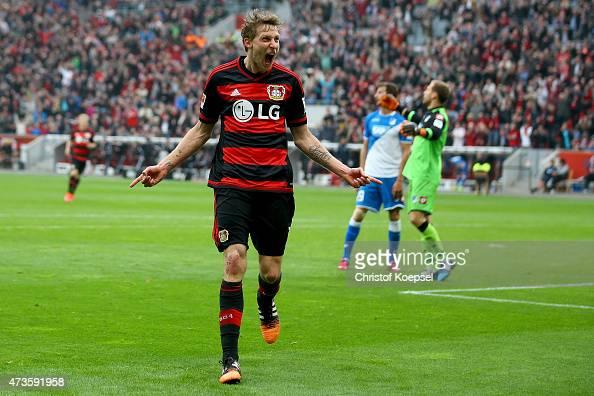 Stefan Kiessling of Leverkusen celebrates the second goal during the Bundesliga match between Bayer 04 Leverkusen and 1899 Hoffenheim at BayArena on...