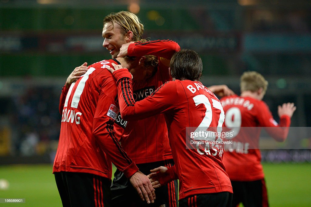 Stefan Kiessling of Leverkusen celebrates with his teammates Simon Rolfes and Gonzalo Castro after scoring his team's second goal during the Bundesliga match between Bayer 04 Leverkusen and FC Schalke 04 at BayArena on November 17, 2012 in Leverkusen, Germany.