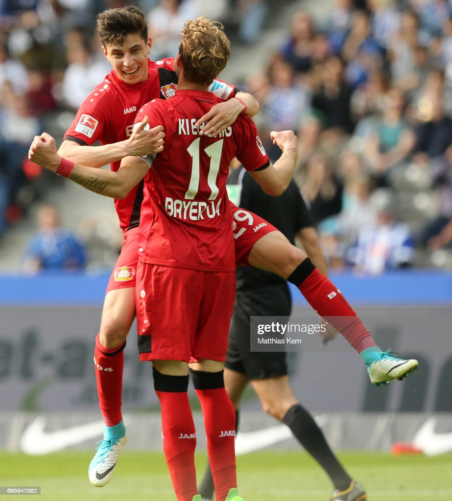 Stefan Kiessling (R) of Leverkusen jubilates with team mate Kai Havertz after scoring the fourth goal during the Bundesliga match between Hertha BSC and Bayer 04 Leverkusen at Olympiastadion on May 20, 2017 in Berlin, Germany.